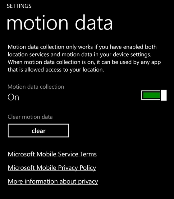 motion settings on Windows Phone 8.1