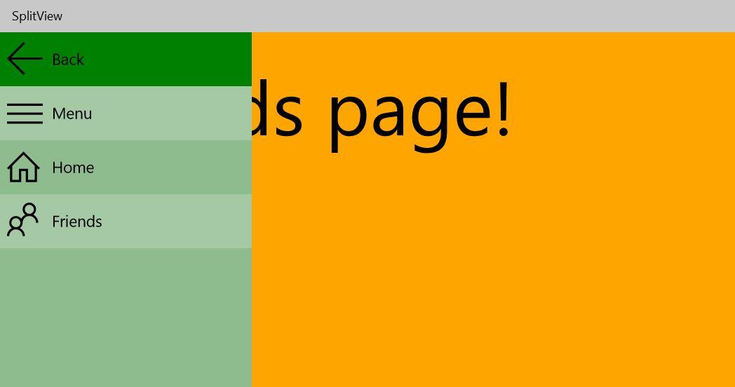 SplitView pane open - FriendsPage