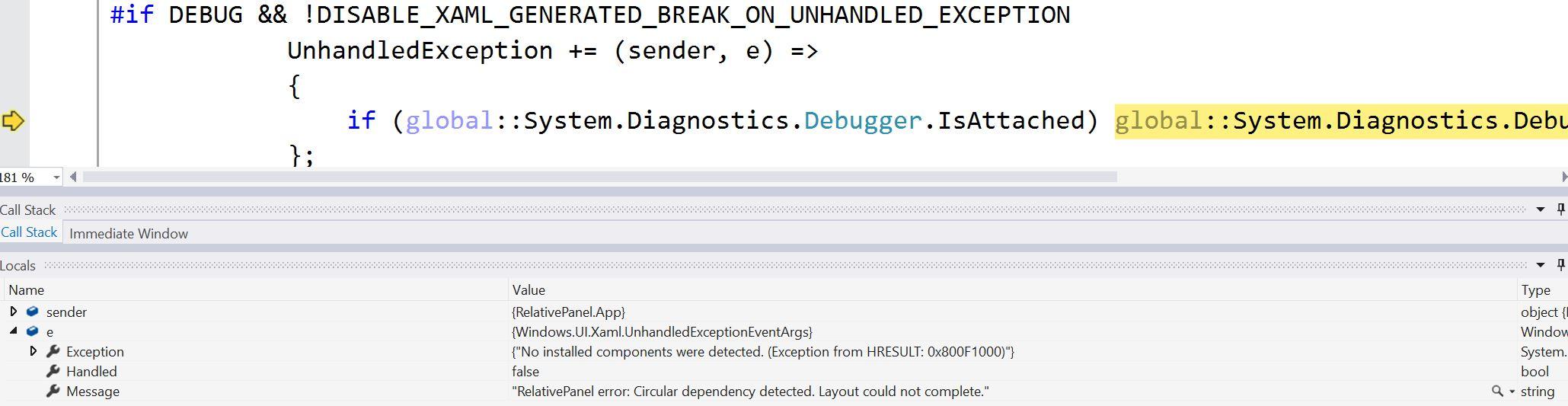 Exception when defining circular dependencies in RelativePanel