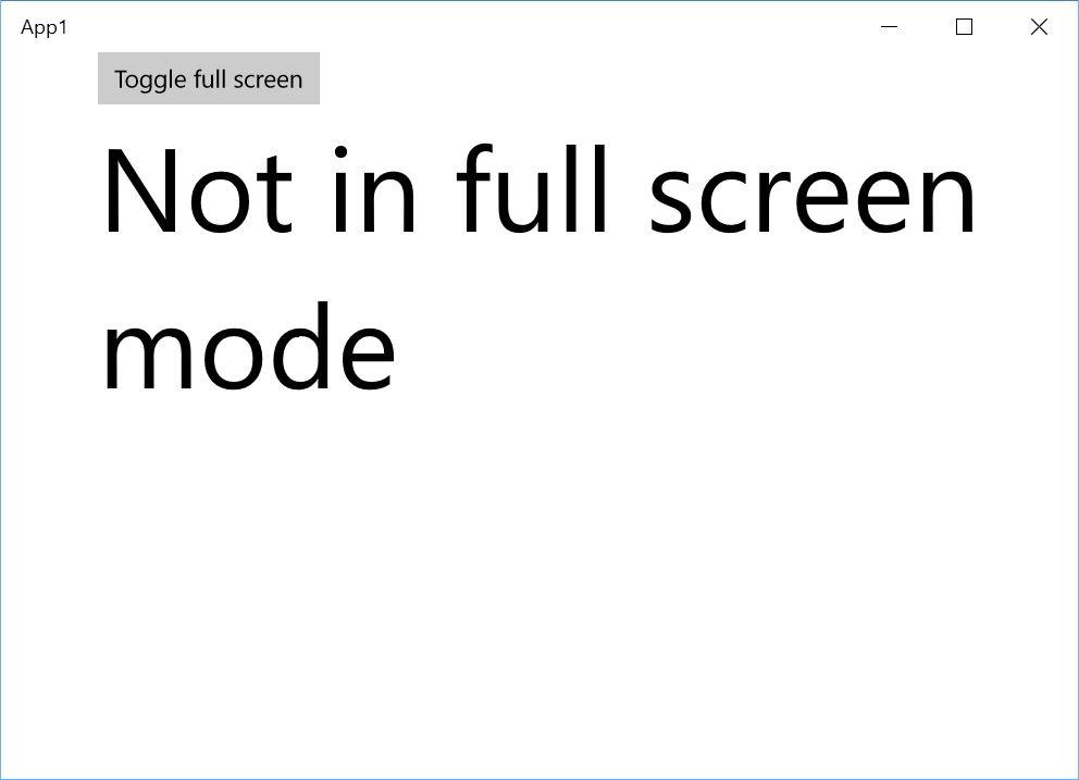 App running in windowed mode