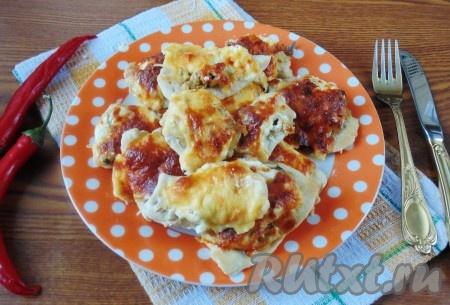 Куриное филе с грибами и сыром в духовке рецепт
