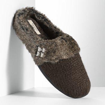 Simply vera vera wang knit faux-fur clog slippers