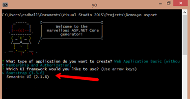 app creation using yeoman - step two