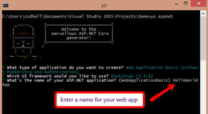 app creation using yeoman - step three