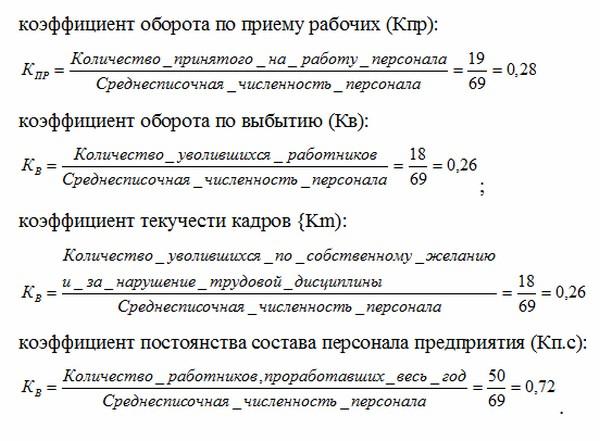 Формула коэффициента текучести кадров