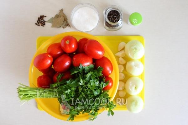 Ингредиенты для засолки помидоров «Пальчики оближешь» на зиму