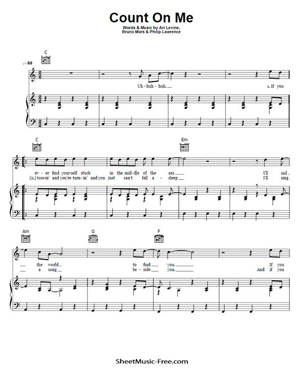 Count On Me Sheet Music PDF Bruno Mars Free Download