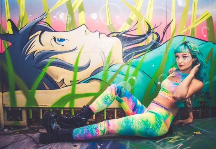 Rainbow Legging girl with graffiti