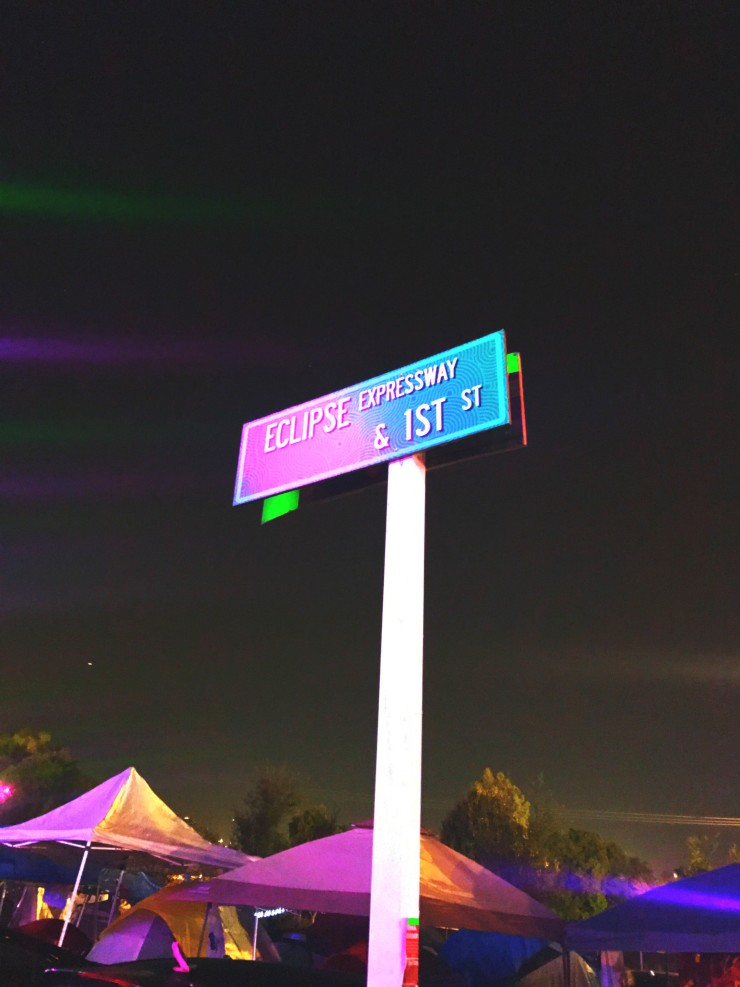 A camping area street sign at Nocturnal Wonderland.