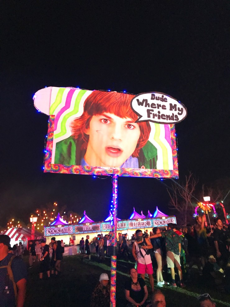 An Ashton Kutcher totem pole reads Dude Where Are My friends