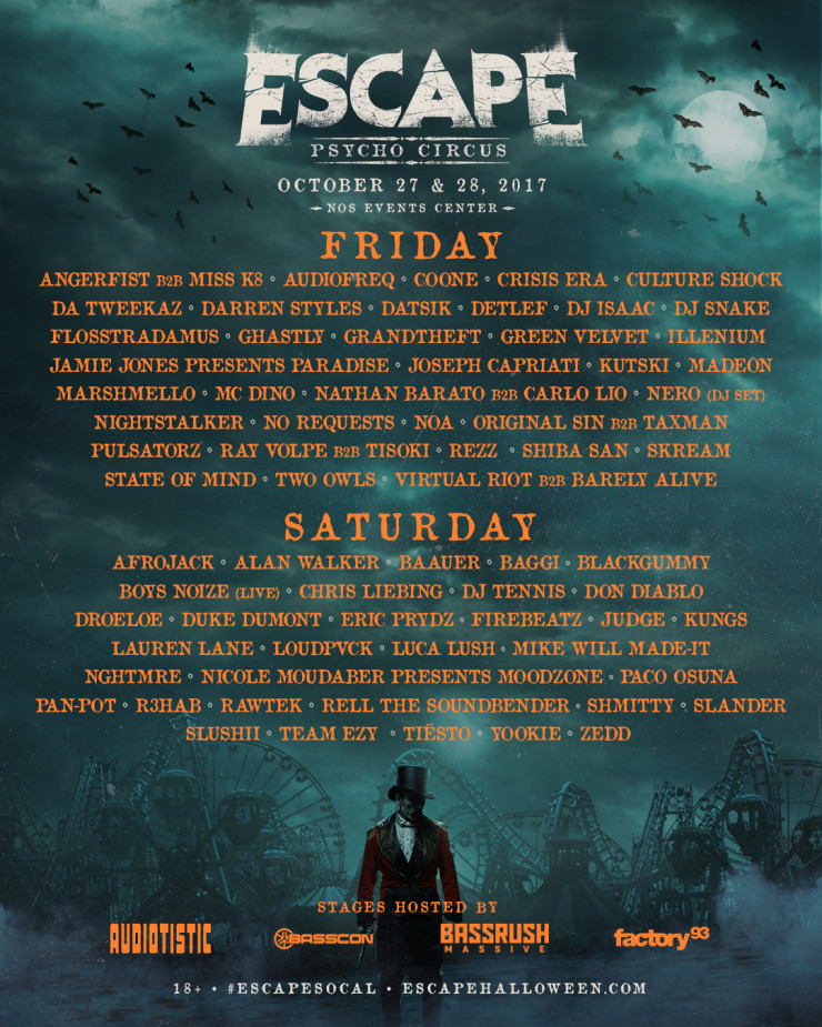 Escape concert line up
