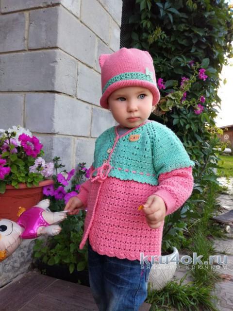 Комплект Киска: кофточка и шапочка для девочки на 2 года