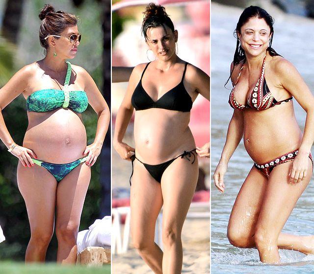 Pregnant celebrities in swimwear