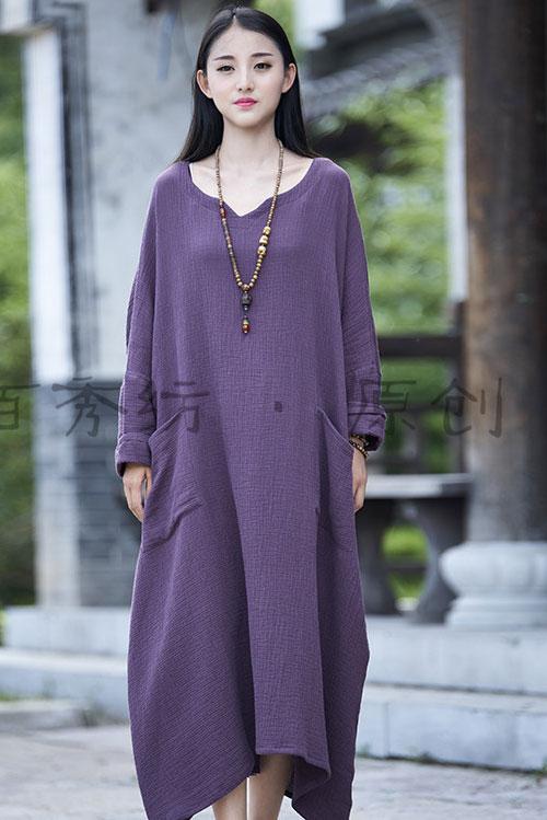платье в стиле бохо с накладными карманами для полных женщин