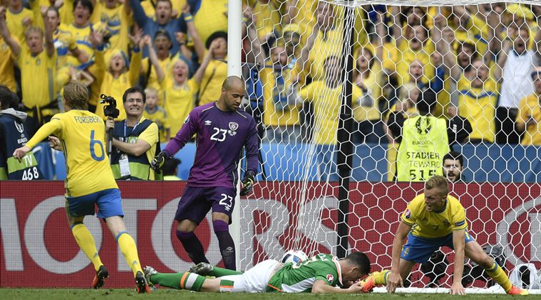 Sweden supporters react after Ireland's Ciaran Clark, on the ground, scored an own goal during the Euro 2016 Group E soccer match between Ireland and Sweden at the Stade de France in Saint-Denis, north of Paris, France, Monday, June 13, 2016. (AP Photo/Martin Meissner)