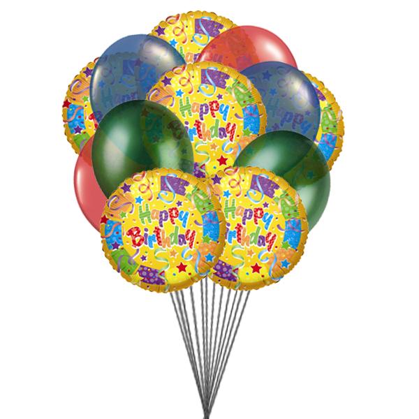 Bouquet of best birthday balloons (3 Latex & 3 Mylar Balloons)
