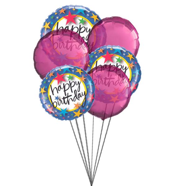 Pinkish Balloons saying Happy Birthday (3 Latex & 3 Mylar Balloons)
