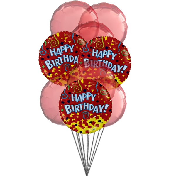 Happy birthday balloons with colour of love (3 Latex & 3 Mylar Balloons)