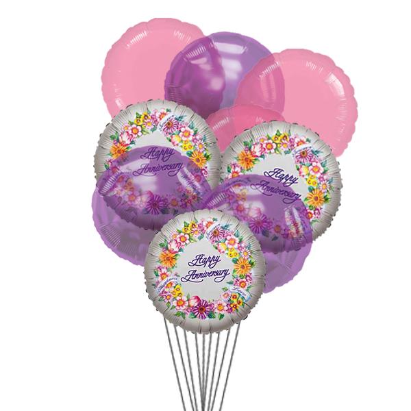 Cheerful anniversary balloons (3 Latex & 3 Mylar Balloons)