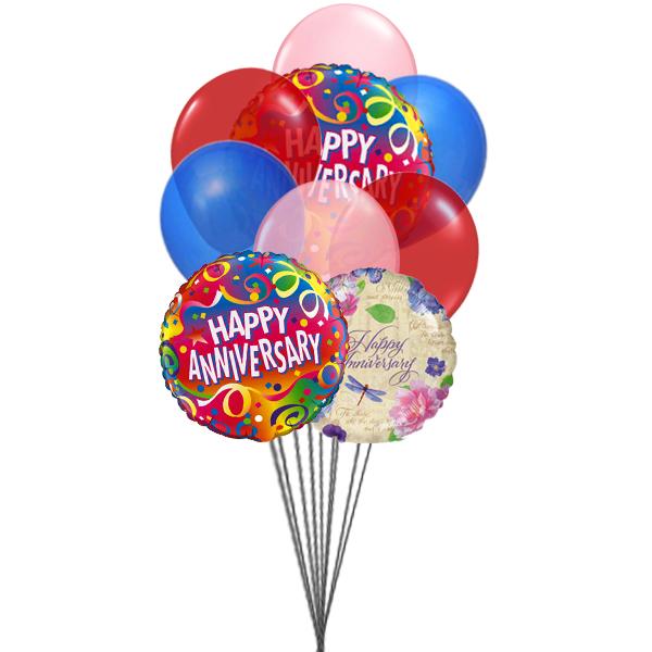 Bunch of Happy Anniversary (3 Latex & 3 Mylar Balloons)