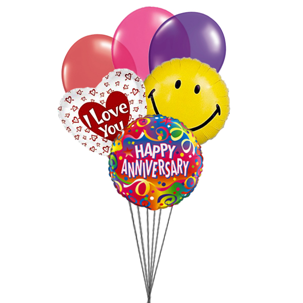 Smiley Anniversary balloons with love (3 Latex & 3 Mylar Balloons)