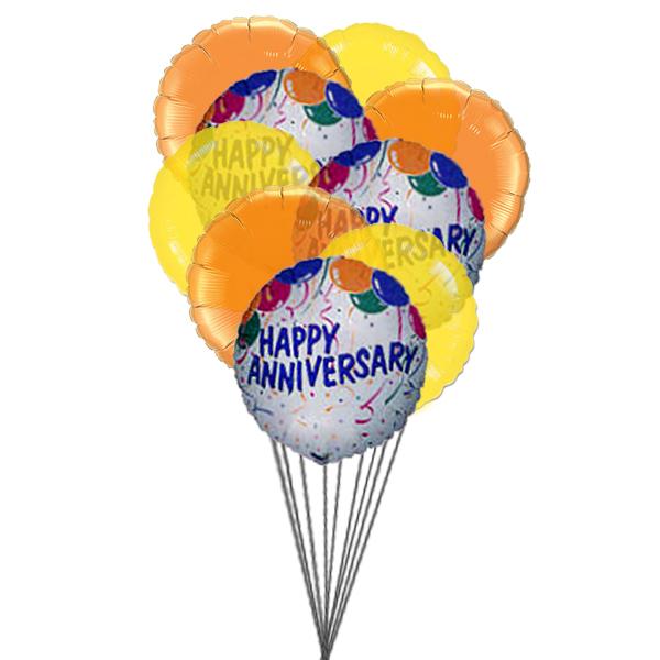 Balloons of wishing happy anniversary (3 Latex & 3 Mylar Balloons)