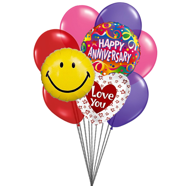 Lovely anniversary balloons (3 Latex & 3 Mylar Balloons)