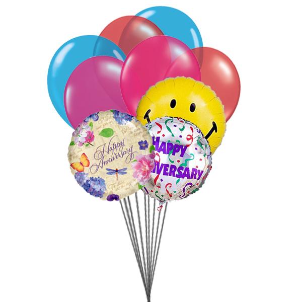 Happy anniversary balloons (6 Latex & 3-Mylar Balloons)