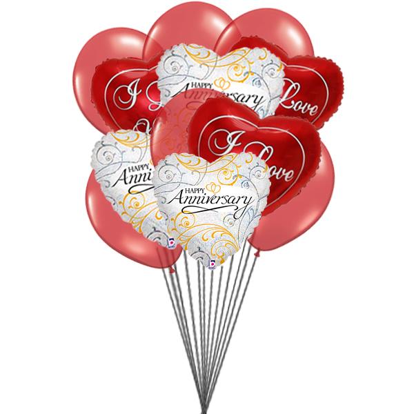 Balloons bouquet of love (6 Latex & 6 Mylar Balloons)