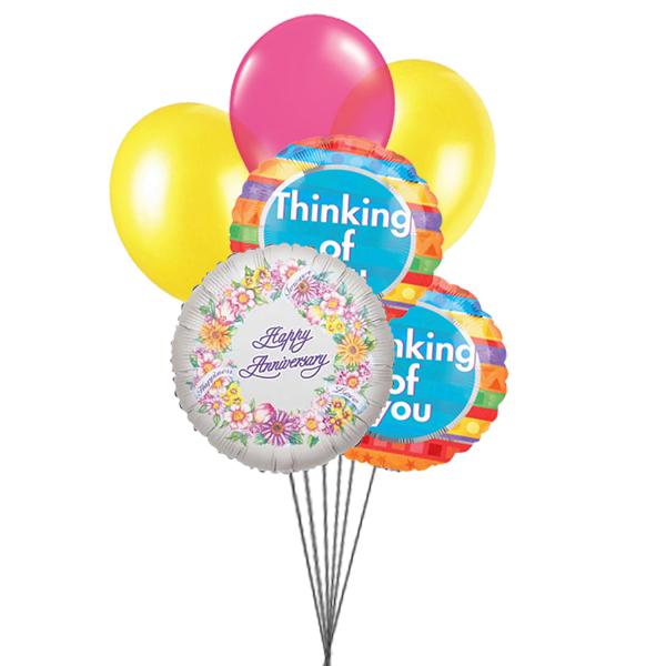 Thinking on Anniversary balloons (3 Latex & 3 Mylar Balloons)