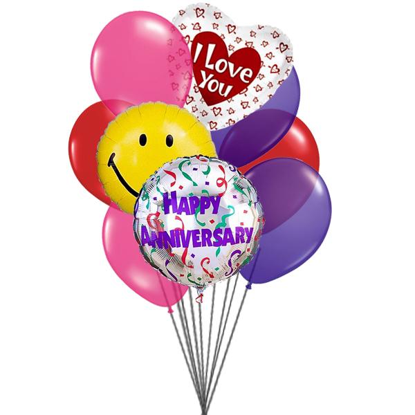 I love you anniversary balloons (3 Latex & 3 Mylar Balloons)