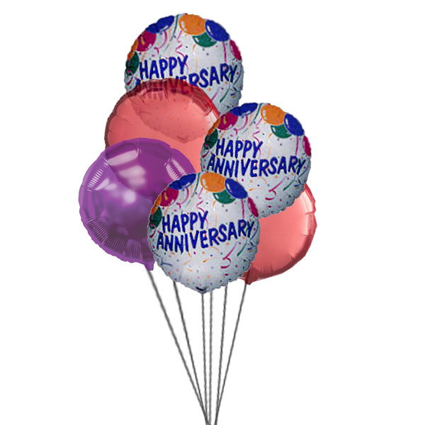 Anniversary wishes ballons (3 Latex & 3 Mylar Balloons)