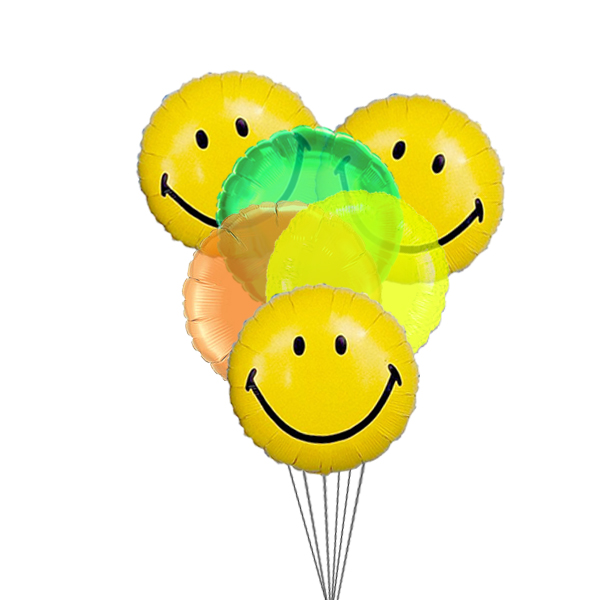 Smiley Balloon Bouquet (3 Latex & 3 Mylar Balloons)