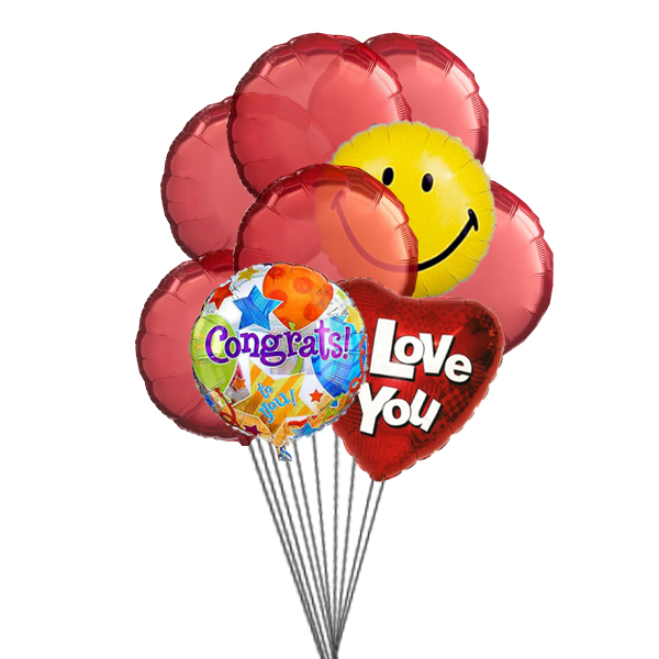 Love & Smile Balloons (3 Latex & 3 Mylar Balloons)