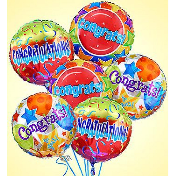 Air-Rangement - Congratulations Mylar Balloons (Half Dozen)