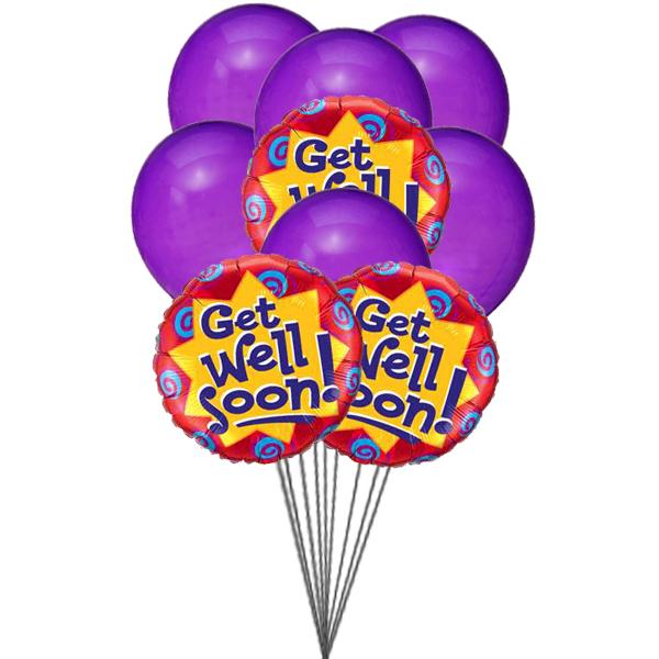 Purply getwell balloons (3 Latex & 3 Mylar Balloons)