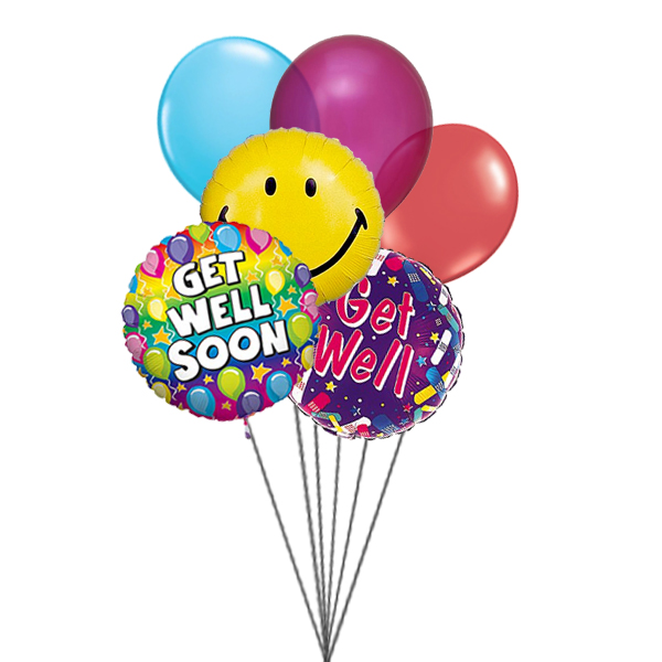 Smile and wish Get well (3 Latex & 3 Mylar Balloons)