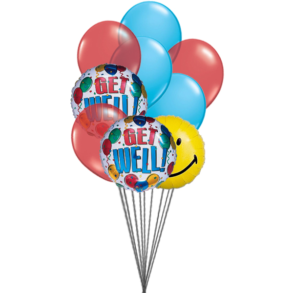 Getwell smiley balloons (3 Latex & 3 Mylar Balloons)