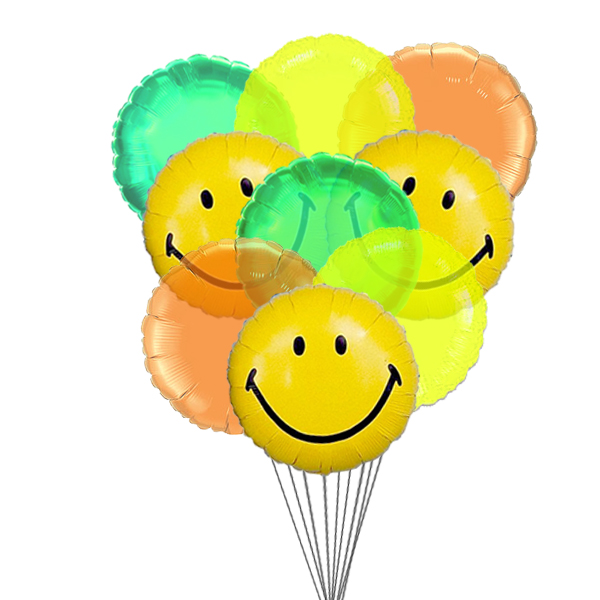 Wide smile balloons (6 Latex & 3-Mylar Balloons)