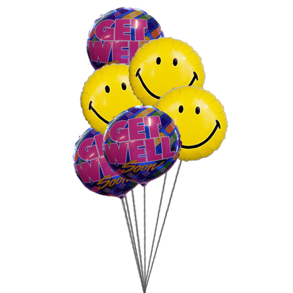 Bunch of smile with Get well Soon Balloons ( 6 Mylar Balloons)
