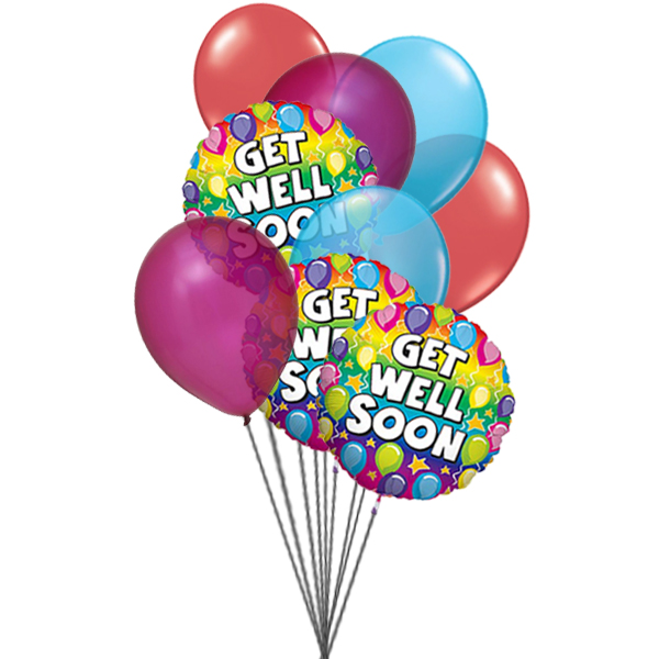 Ready to get well soon balloon (3 Latex & 3 Mylar Balloons)