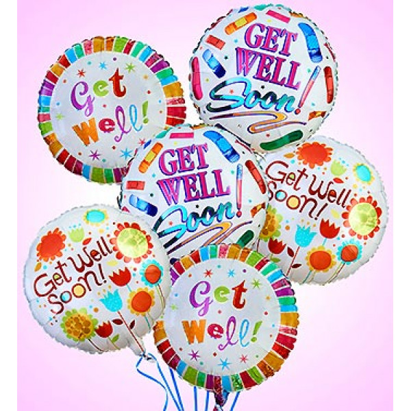 Air-Rangement - Get Well Mylar Balloons (Half Dozen)