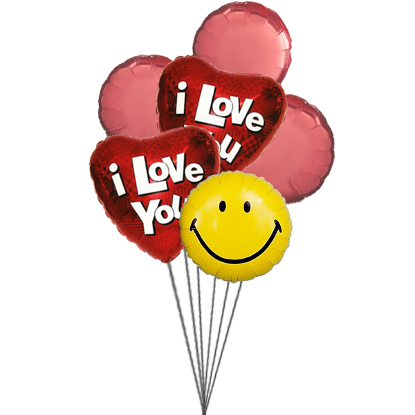 Sparkling Hearts Balloons (3 Latex & 3 Mylar Balloons)