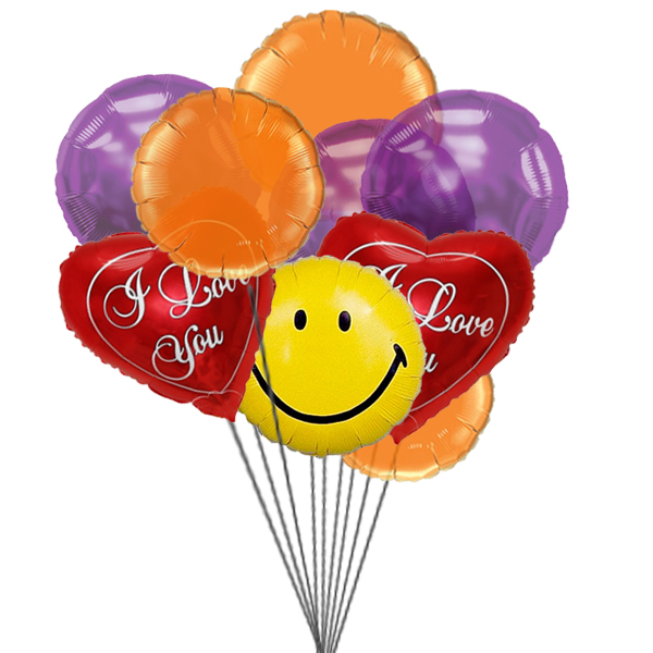 Smiles & love Balloons (3 Latex & 3 Mylar Balloons)