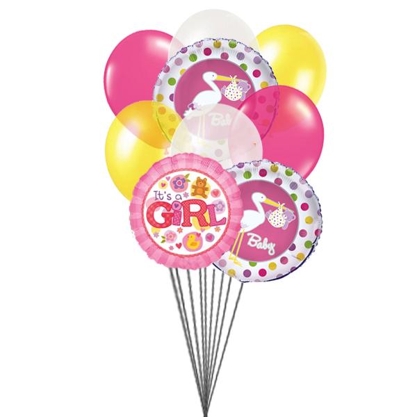 For Baby Girl (3 Latex & 3 Mylar Balloons)