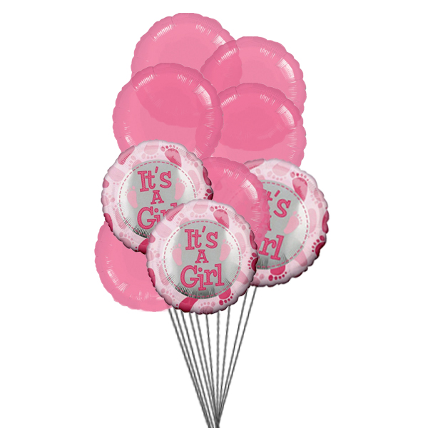Girly Balloons (3 Latex & 3 Mylar Balloons)