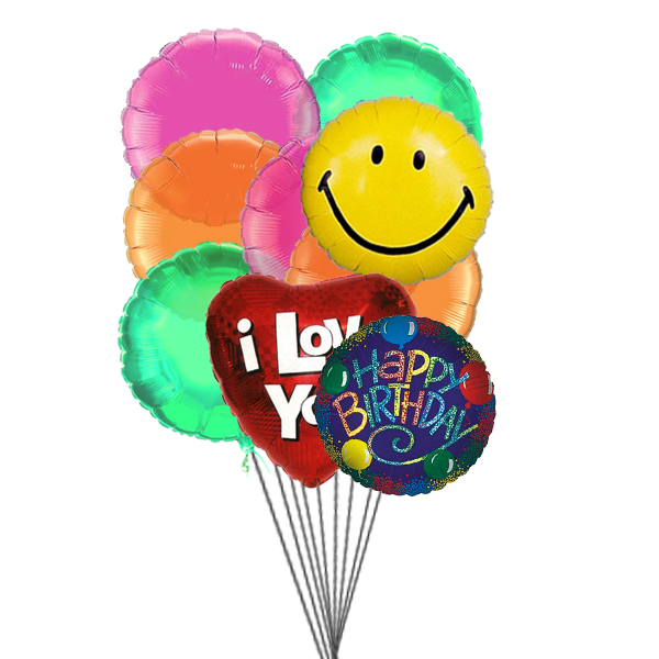 Birthday bash balloons full of love,smile & wishes (3 Latex & 3 Mylar Balloons)