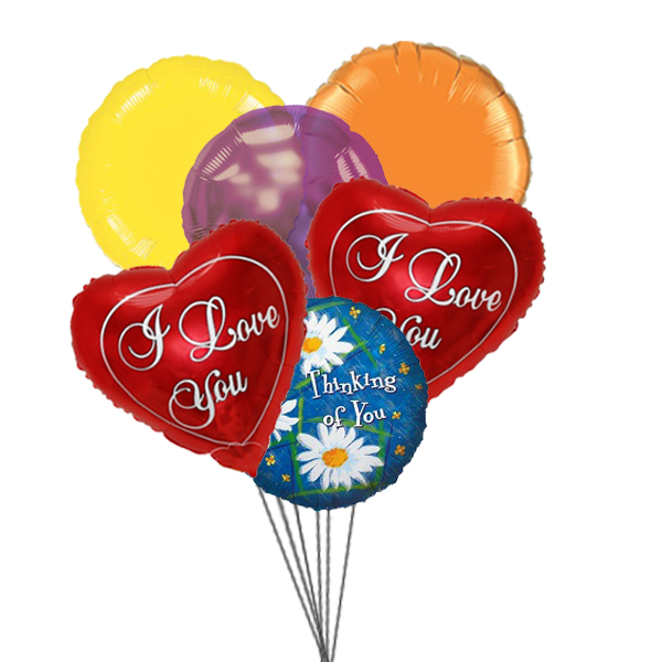 Thoughtful Balloons Bouquet (3 Latex & 3 Mylar Balloons)