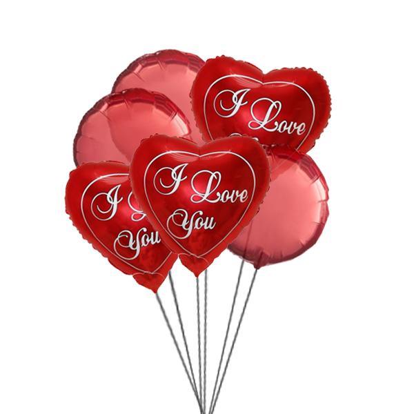 Love you Balloon Bouquet (3 Latex & 3 Mylar Balloons)