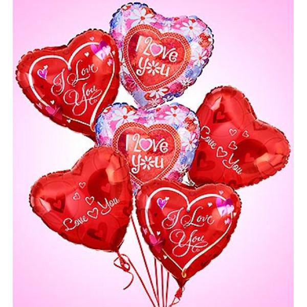 Air-Rangement - Love & Romance Mylar Balloons (Half Dozen)